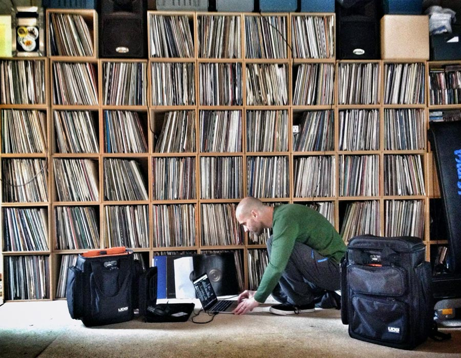 John '00' Fleming with his Vinyl Records